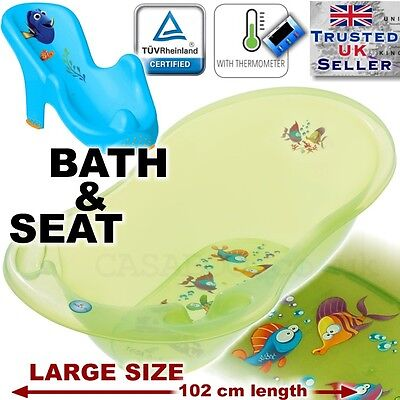 SET LARGE Lux 102cm length Baby Bath Tub Aqua green +THERMOMETHER + support seat
