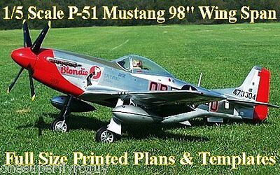 "P-51D Mustang Giant Scale 98"" WS RC Airplane Full Size PRINTED Plans & Templates"