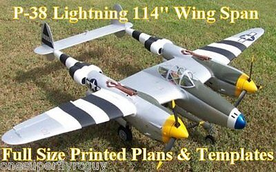"""P-38 Lightning 114"""" WS 1/5 Scale RC Airplane Full Size PRINTED Plans & Templates"""