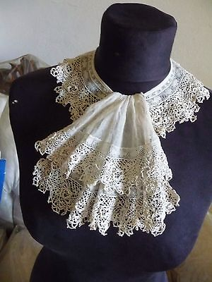 Antique Victorian ECRU RUFFLED LAYERED Lace Collar/Bib Front Jabot irish crochet