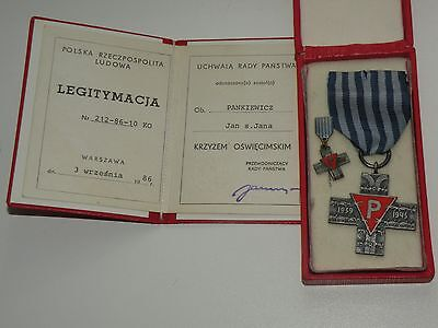 Auschwitz Cross WW2 Genuine Concentration Camp Medal + doc + miniature + box !!!