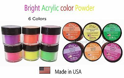 6 BRIGHT Acrylic Nail Powder Set - Adoro Decori Bright Nail Color ~MADE IN USA~