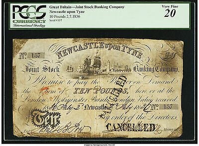 Great Britain P-UNL 1836 10 Pounds VF PMG 20 Joint Stock Banking Company