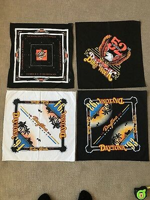 Vintage Lot Of Harley Davidson Bandana & 3 DAYTONA  Bike Week Handkerchief Scarf