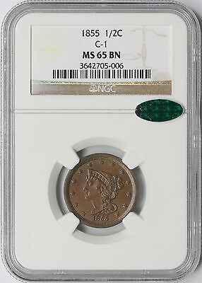 1855 C-1 Braided Hair Half Cent 1/2C MS 65 BN Brown NGC ~ CAC Approved
