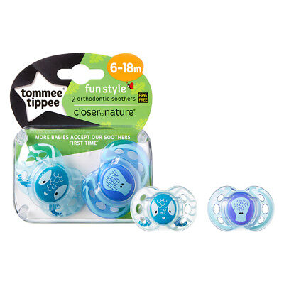 """TOMMEE TIPPEE """"Fun Style"""" 2x Dummy Pacifier Soother Orthodontic Silicone 6-18m"""