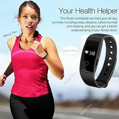 Bluetooth Fitness HR Monitor Activity Tracker Watch Heart Rate Wristband Fit Bit