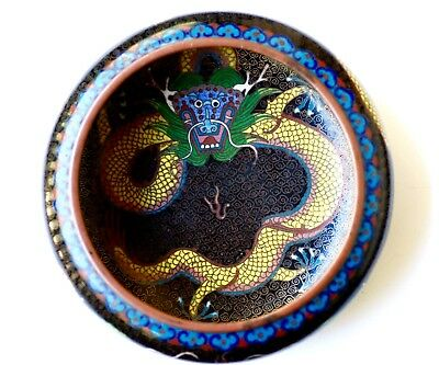 Antique Chinese Cloisonne Dragon Bowl Brash Washer