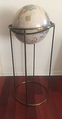 "Vintage Floor Standing 12"" Replogle Globe With Brass Stand"