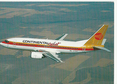 CONTINENTAL WEST AIRLINES B737-300  Aircraft Airplane Aviation POSTCARD