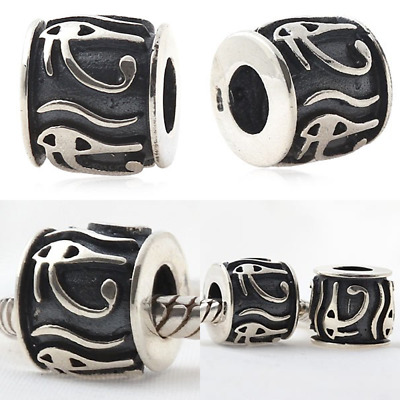 JEWELRY ANTIQUE 925 STERLING Silver Beads Eye Of Horus Charm Egyptian Symbol Of
