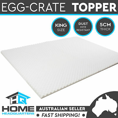 Egg Crate Mattress King Double Topper Deluxe Underlay Foam Cover Protector 5cm