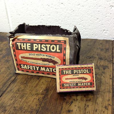 """Vintage """"THE PISTOL""""  Match Boxes x 7 in Original Packaging"""