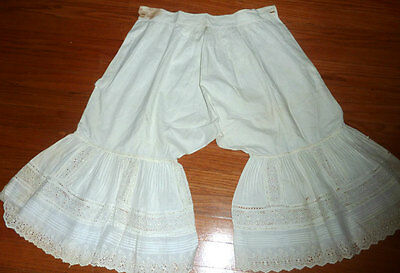 Antique Lace Petticoat Bloomers Pantalones with Eyelet Victorian Era Undergarmen