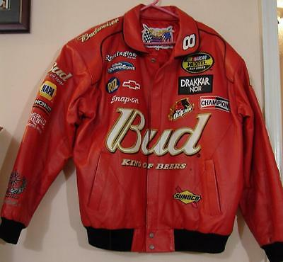 Dale Earnhardt Jr #8 Red Budweiser Leather Drivers Jacket Xl Jeff Hamilton