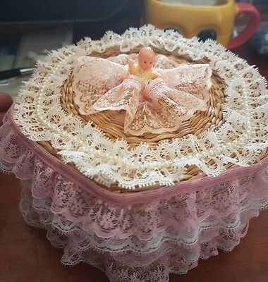 Beautiful Embroided Cane/Wicker Sewing Box with doll on top - FAST POST