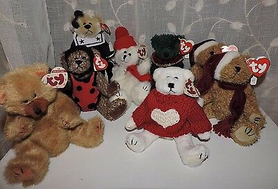 """Set of 8 Ty The Attic Treasures Collection Jointed Plush Bear 8"""" lot 1993 NWT"""