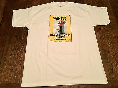 "vintage 1989 WALLACE & GROMIT ""Wanted Chicken"" mens XL shirt cartoon BBC x-large"