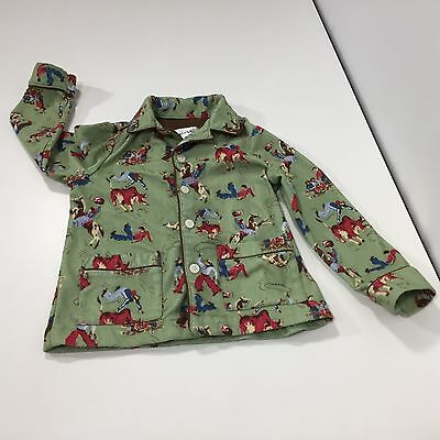 Boy Child's Toddler Nick and Nora Pajama Top Green Cowboys Horses Rodeo Size 4T