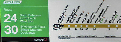 Melbourne Tram Linear Maps Internal Sticker Tram Route Maps Routes 24 30 96 112