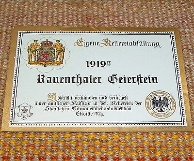 1919 ORIGINAL UNUSED German Wine Label Rauenthaler Geierstein Vintage Rheingau