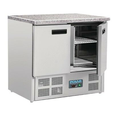 Polar Double Door Refrigerated Counter with Marble Work Top 240Ltr CL108
