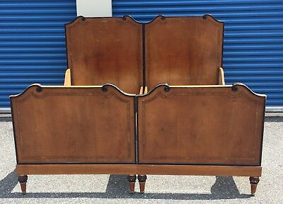 Antique Biedermeier King Size ~ Split Twin Double Bed ~ Inlaid Boards~Take AL@@K