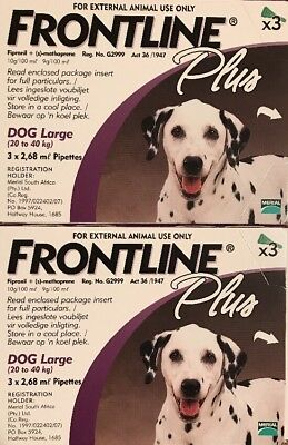 Frontline Plus for Large Dogs 45-88lbs (20-40kg) 6 Pack For 6 Month Supply, New!