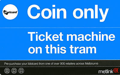 Metcard Tram Validator and Tram Door Entry Stickers with Green Metcard Wallet