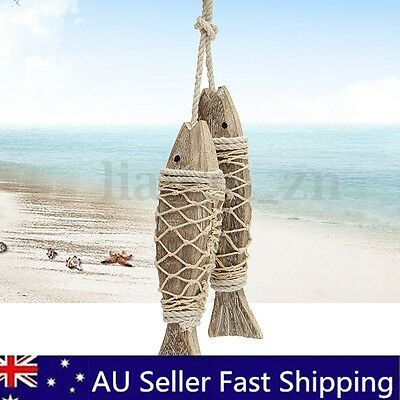 2Pcs Wooden Fish Hand Carved Hanging Nautical Seaside Wall Sculptures Room Decor