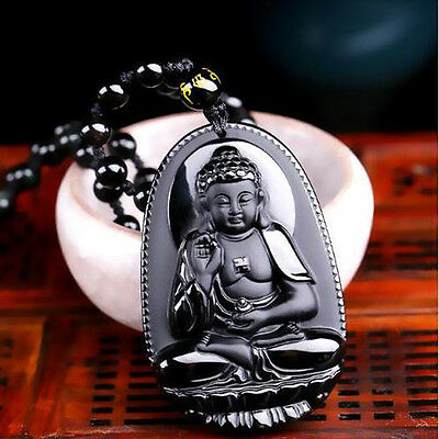 Natural Black Obsidian Carved Buddha Pendant Necklace unisex Lucky Amulet lp