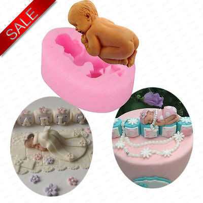 Silicone Mould Sugarcraft 3D Sleeping Baby Shower Cake Topper Modelling Tools UK