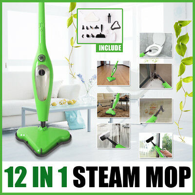 12 in 1 Foldable Floor Carpet Steam Mop Handheld Steamer Cleaning Cleaner New