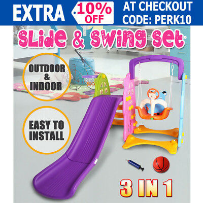 3 IN 1 Kids Slide & Swing Basketball Ring Activity Outdoor Indoor Play Toys Set