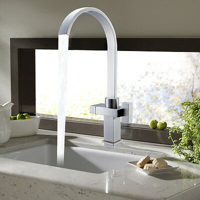 Modern Square Double Twin Lever Kitchen Sink Swan Neck Mixer Tap Swivel Spout UK