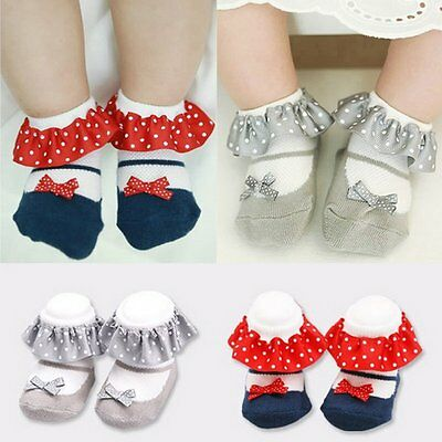 Lovely Toddler Baby Girl Anti-slip Socks Lace Cotton Ankle Sock Shoes 0-3 Years