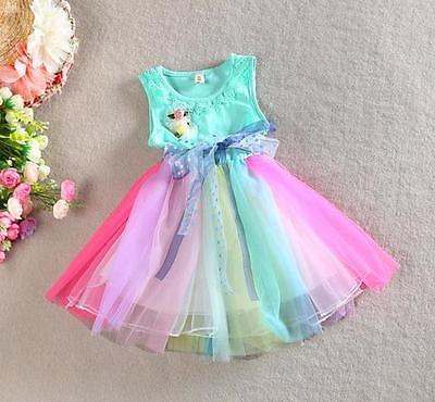 LITTLE GIRLS Rainbow TUTU DRESS GIFT Summer Birthday Party PRINCESS Dress SALE