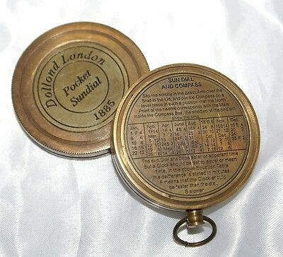 Bussola antica con fuso orario Dollond London pocket sundial 1885 con meridiana