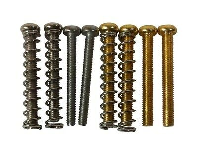 Humbucker pickup mounting height screws & springs - import/USA size, chrome/gold