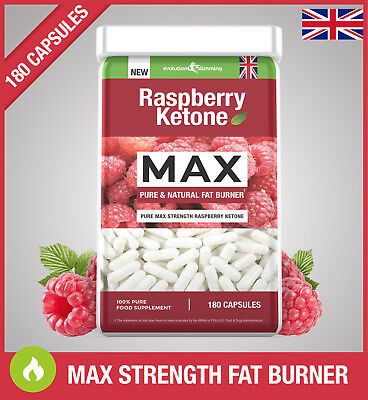 Raspberry Ketone MAX PURE FAT BURNER *180 CAPSULES* Super Strong Weight Loss UK