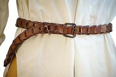Medieval-LARP-SCA-Re-enactment-Battle Ready-Cosplay BROWN LEATHER BRAWL BELT