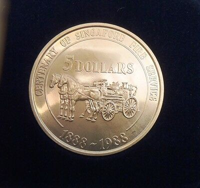 1988 Singapore Centenary of the Singapore Fire Service CuNi $5 coin KM#70