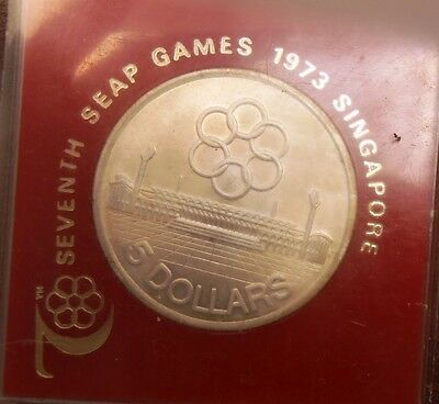 1973 Singapore Seventh Seap games Commemorative Silver $5 coin KM#10 in case