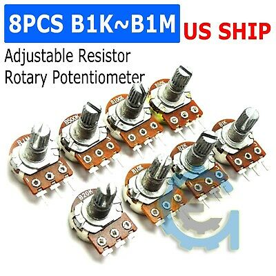 8Pcs Single 3-Pin Rotary Potentiometer Panel Pot Kit 15mm Shaft With Nuts Washer