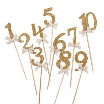 10PCS Gold Glitter Number CupCake Topper Child 1st Birthday Party Decor Supply
