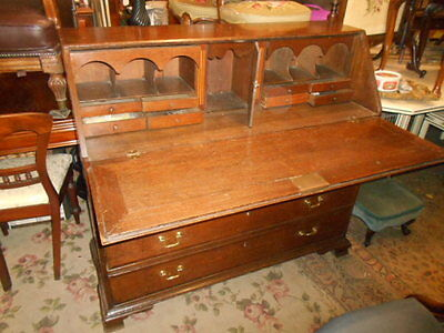 Antique Georgian oak and mahogany estate managers bureau fitted interior drawers