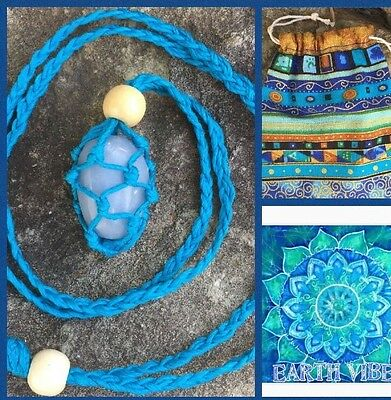 Vivid Blue Organic Bamboo Necklace plus Angelite Crystal And Pouch