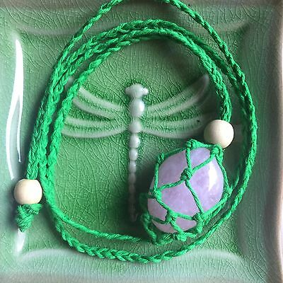 Lush Green Bamboo Macrame Adjustable Interchangeable Crystal Necklace