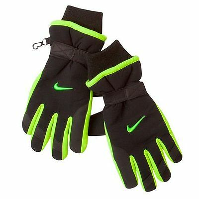 New Boys Nike Insulated Waterproof Ski Snow Winter Gloves Nwt $28 Black Volt