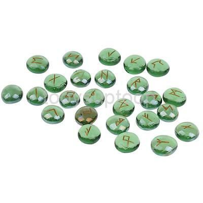 25pcs Green Glass Engraved Runes Lettering Stones for Divination & Scrying